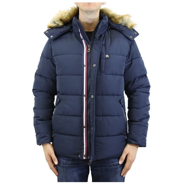 Spire by Galaxy Mens Heavyweight Hooded Parka Jacket with Stripe Trim