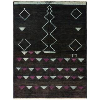 ECARPETGALLERY  Hand-knotted Shalimar Dark Brown Wool Rug - 6'5 x 8'8