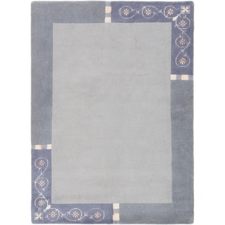 ECARPETGALLERY  Hand-knotted Karma Light Grey Silk, Wool Rug - 5'8 x 7'8
