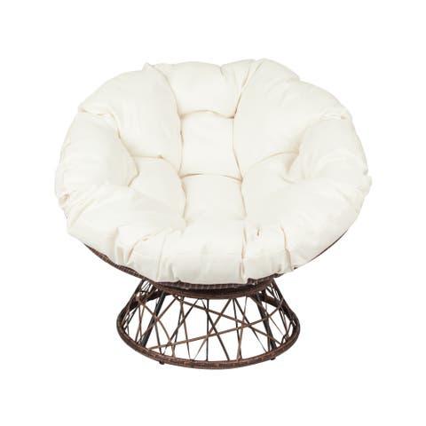 Outdoor Papasan Swivel Chair--Dark Brown/Beige