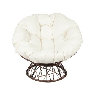 Outdoor Papasan Swivel Chair--Dark Brown/Beige