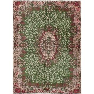 ECARPETGALLERY  Hand-knotted Melis Vintage Green Wool Rug - 5'6 x 7'6