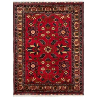 ECARPETGALLERY  Hand-knotted Finest Kargahi Light Red Wool Rug - 5'2 x 6'9