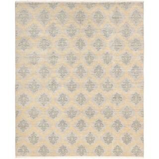 ECARPETGALLERY  Hand-knotted Finest Ushak Grey Wool Rug - 8'0 x 9'9