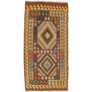 ECARPETGALLERY  Flat-weave Kashkoli FW Dark Orange, Light Gold Wool Kilim - 3'3 x 6'7