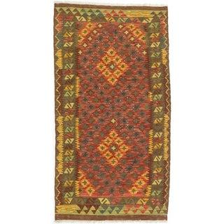 ECARPETGALLERY  Flat-weave Hereke FW Dark Burgundy, Gold Wool Kilim - 3'5 x 6'4