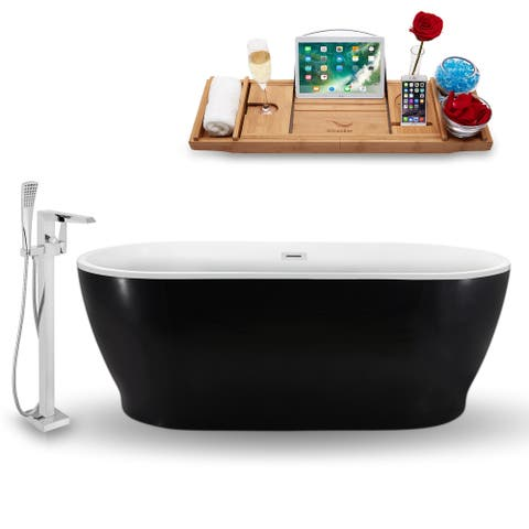 """Tub, Faucet and Tray Set Streamline 70"""" Freestanding NH882-100"""