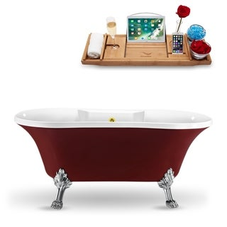 "60"" Streamline N102CH-GLD Clawfoot Tub and Tray With External Drain"