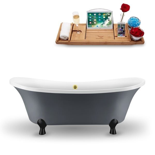 """68"""" Streamline N921BL-GLD Clawfoot Tub and Tray With External Drain"""