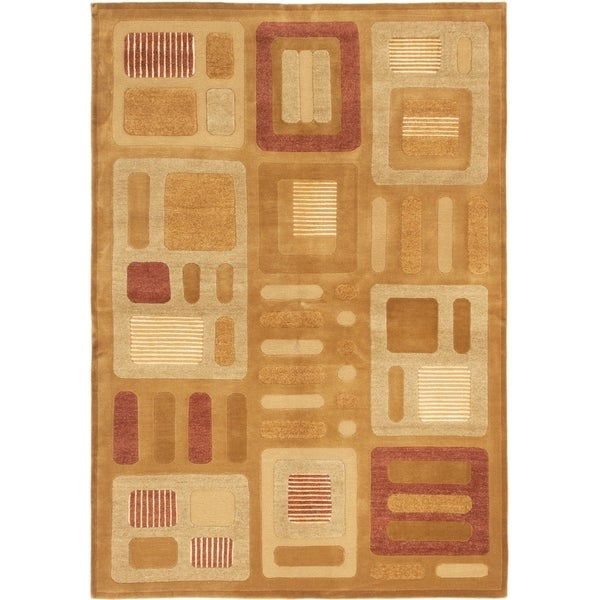 ECARPETGALLERY Hand-knotted Shangrila Brown Silk, Wool Rug - 6'7 x 8'10