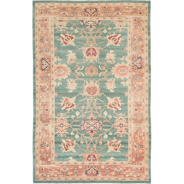 ECARPETGALLERY Hand-knotted Authentic Ushak Teal Wool Rug - 5'8 x 8'11