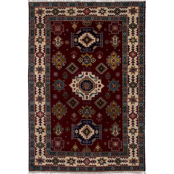 ECARPETGALLERY Hand-knotted Royal Kazak Dark Red Wool Rug - 6'8 x 9'8