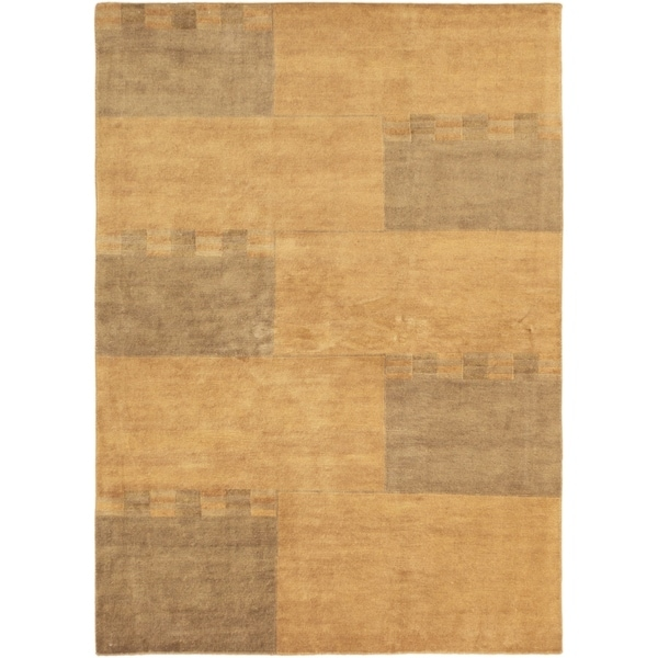 ECARPETGALLERY Hand-knotted Aurora Light Brown Wool Rug - 5'6 x 7'8