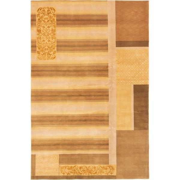 ECARPETGALLERY Hand-knotted Silk Touch Light Brown, Light Gold Silk, Wool Rug - 6'0 x 9'1