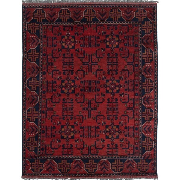 ECARPETGALLERY Hand-knotted Finest Khal Mohammadi Red Wool Rug - 4'11 x 6'5