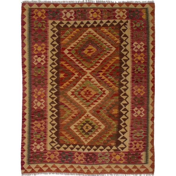 ECARPETGALLERY Flat-weave Ankara FW Red Wool Rug - 4'11 x 6'2