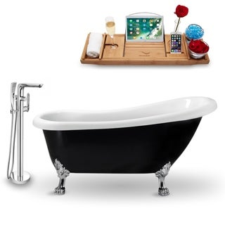 """Tub, Faucet and Tray Set Streamline 61"""" Clawfoot NH481CH-120"""