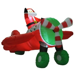 HOMCOM 8.5' Outdoor Lighted Inflatable Santa Claus Plane