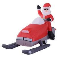 HOMCOM 7' Outdoor Animated Christmas Inflatable Santa on a Snowmobile