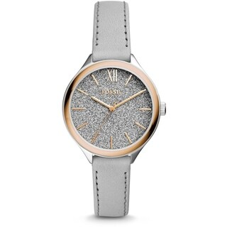 Fossil Women's BQ3324 Suitor Glitter Grey Dial Grey Leather Watch