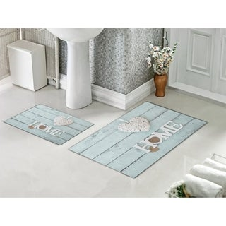 Decorotika 2 Piece Bathroom and Shower Mat - Non-Slip Backing - HOME - 24 x 36