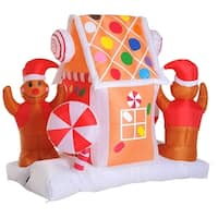 HOMCOM 5' 6 LED Outdoor Christmas Gingerbread House Inflatable