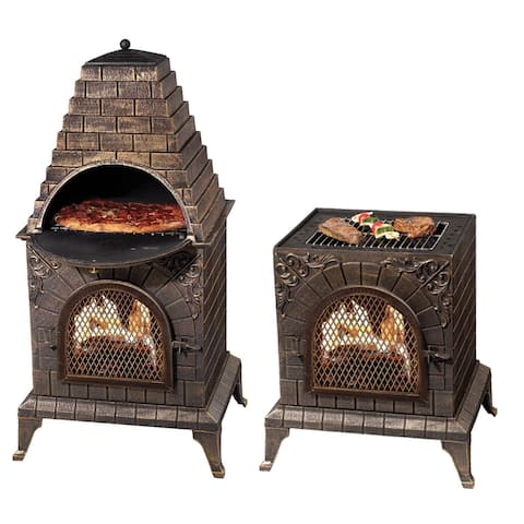 Deeco Consumer Products Aztec Allure Goldtone Iron Chiminea Pizza Oven