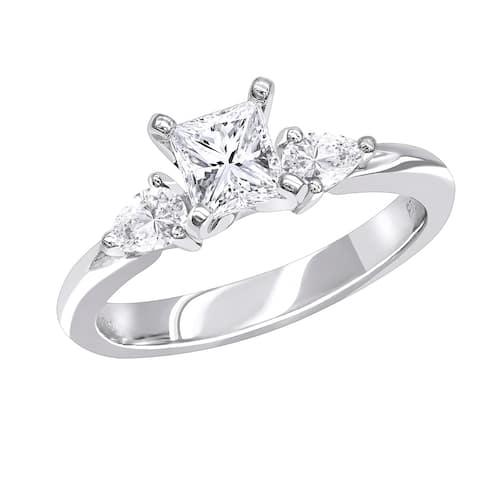 Luxurman 3 Stone Rings: Platinum Princess cut & Pear Diamond Engagement Ring D-E color VS Clarity - N/A