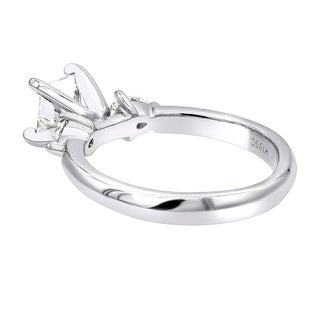 Luxurman 3 Stone Rings: Platinum Princess cut & Pear Diamond Engagement Ring D-E color VS Clarity