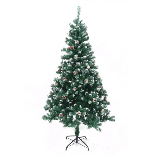 Artificial Christmas Tree With Pine Cones: Shop ALEKO Snow Dusted Artificial Christmas Tree With Pine