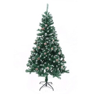 ALEKO Snow Dusted Artificial Christmas Tree with Pine Cones 6 Foot