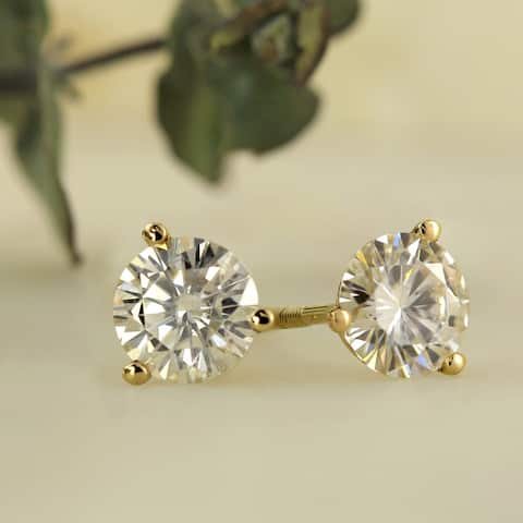 Auriya 1ctw Round Moissanite Stud Earrings 14k Gold Martini-set - 5 mm, Screw-Backs - 5 mm, Screw-Backs