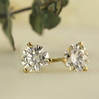 Link to Auriya 1ctw Round Moissanite Stud Earrings 14k Gold Martini-set - 5 mm Similar Items in Earrings