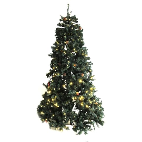 ALEKO Pre-Lit Artificial Christmas Tree with Pine Cones 8 Foot
