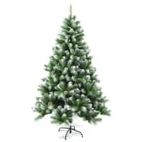ALEKO Snow Dusted Artificial Christmas Tree with Pine Cones 7 Foot