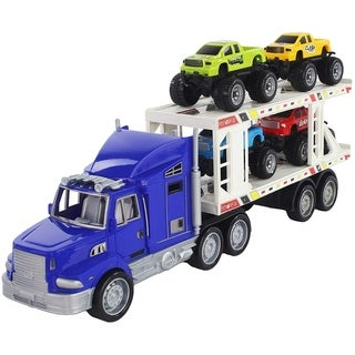 Scale 1:32 Blue Friction Powered Transport Trailer Detachable Tractor Truck with 4 Toy Vehicle Pickup Trucks for Children