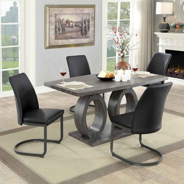 Furniture of America Marlene Contemporary 5-Piece Pedestal Dining Set