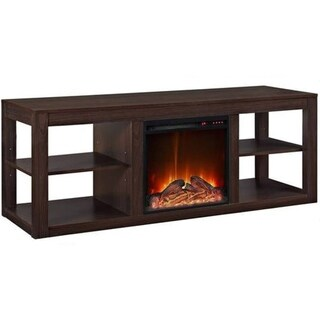 Y-Décor 19 wide electric fireplace insert and lightbrown cabinet