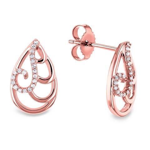 Annello by Kobelli 10k White or Rose Gold Wispy Teardrop Women's Diamond Earrings