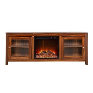 Y-Décor 19 wide electric fireplace insert and darkbrown cabinet
