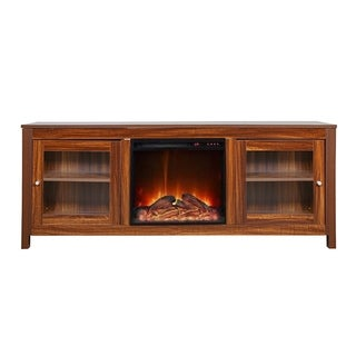 AA Warehousing 19 wide electric fireplace insert and darkbrown cabinet