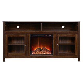 Y-Décor 19 wide electric fireplace insert and brown cabinet