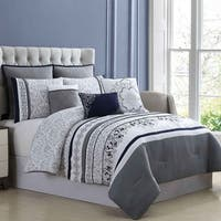 Amrapur Overseas 8-Piece Embroidered Sheffield Comforter Set - White/Grey