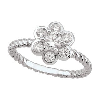 Sterling Silver Cubic Zirconia Bubble Flower Ring