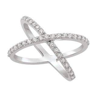 Sterling Silver Cubic Zirconia Criss Cross Ring