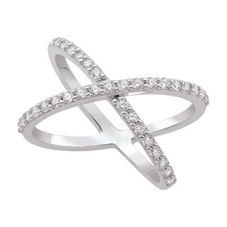 Sterling Silver Cubic Zirconia Criss-Cross Ring