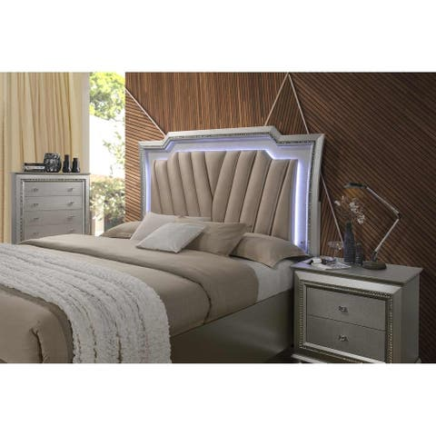 ACME Kaitlyn Queen Bed with LED Headboard in PU and Champagne