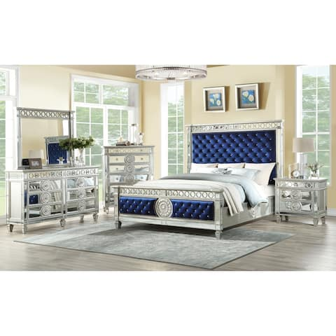 ACME Varian Queen Bed in Blue Velvet and Mirrored