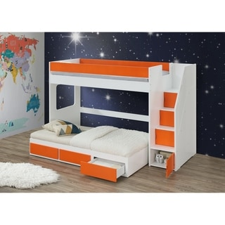 ACME Lawson Loft Bed with Storage Ladder in White and Orange Size - Twin
