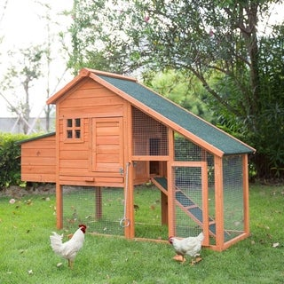 """Kinbor 46"""" Wooden Chicken Coop Hen House Poultry Cage with Removable Tray & Ramp"""